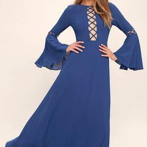 Lulus blue bell sleeve maxi dress